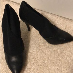 BCBG pointed toe leather stiletto booties